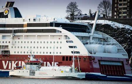 LNG bunker barge and Viking Grace an LNG ferry. See her external tanks on the stern. (Karl Gabor )